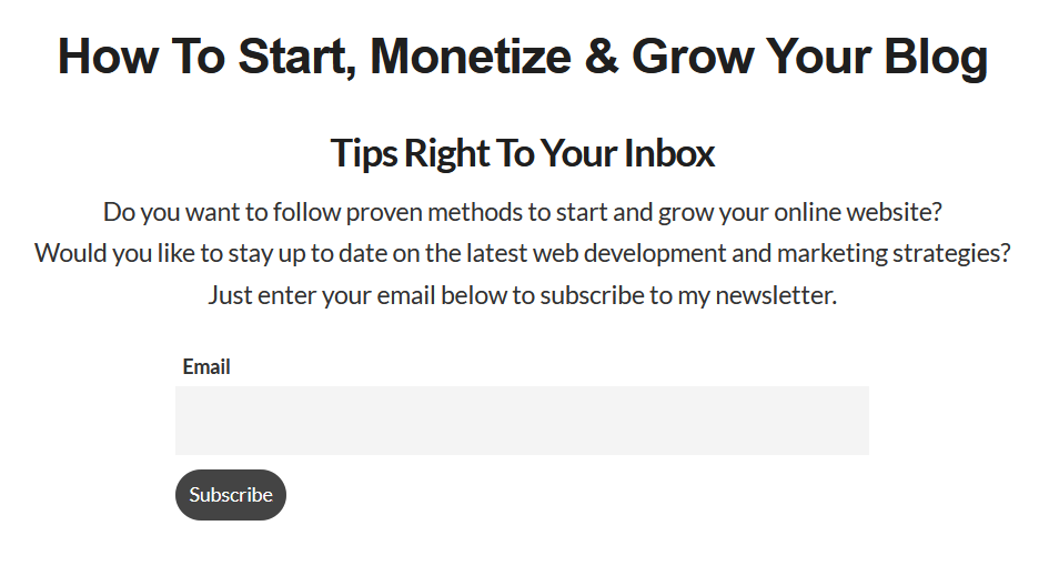 grow your blog newsletter form